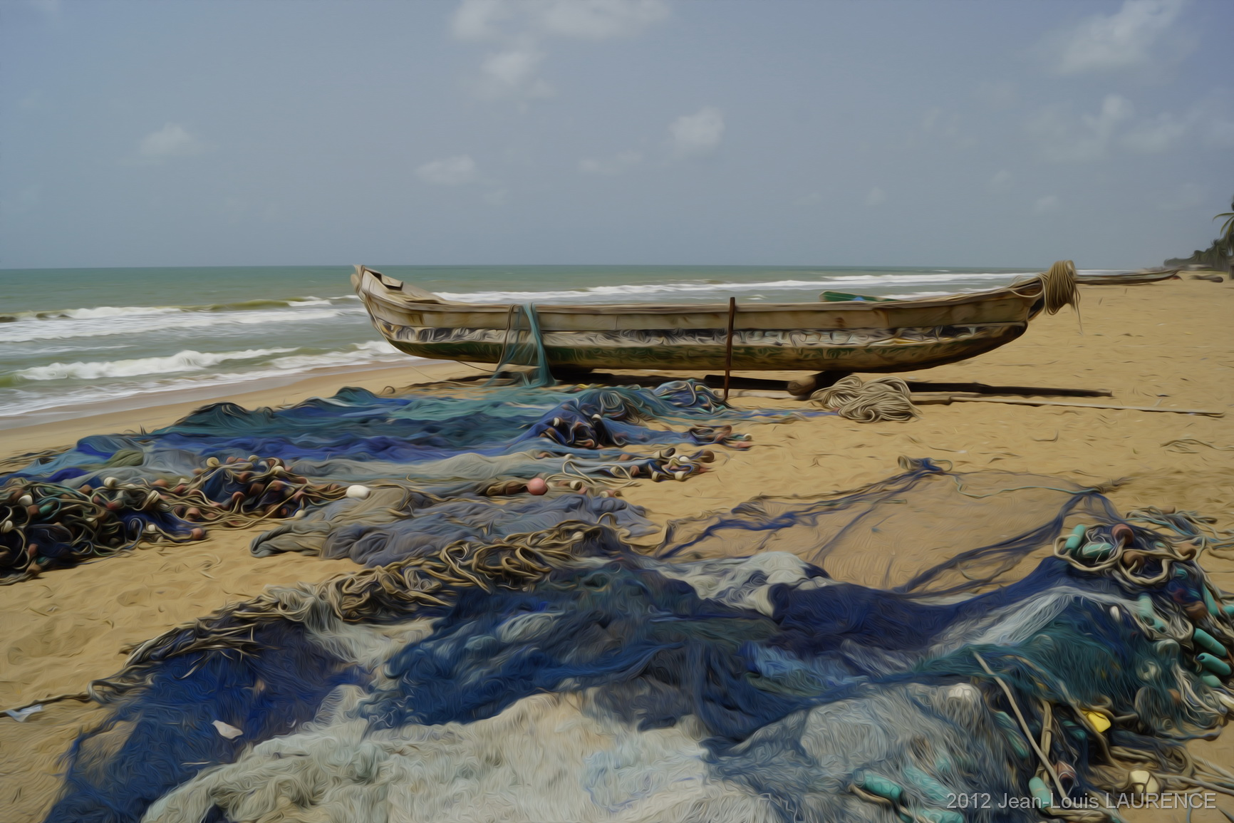 Barque et filets. Plage de Cotonou, Bénin
